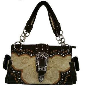Image Is Loading Brown Lb Western Cow Rhinestone Shoulder Bag Handbag