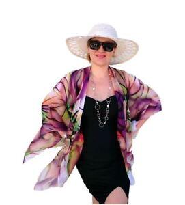 Plus-SIze-Kimono-Jacket-Coverup-Floral-Top-Sheer-Chiffon-Purple-Orchid-Blazer