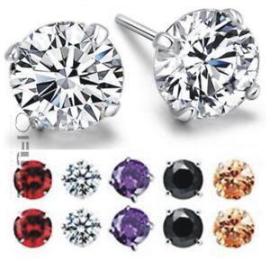 PAIR-Men-Women-925-Sterling-Silver-Solitaire-Round-Cubic-Zirconia-Stud-Earrings