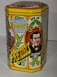 Collector Tin, Hague's Pretzels, Octagon Shape