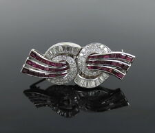 Art Deco 4.50ct Diamond & 4.0ct Mogok Ruby Platinum Double Clip Brooch