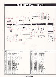 s l300 1980 yamaha musical instrument parts list ad sheet clarinet model