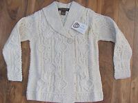 Inis Crafts Irish Ireland Shawl Collar Cardigan Sweater-ecru- Size Large -nwt