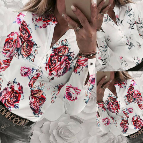 UK Womens V Neck Office Formal Shirt Ladies Floral Print Long Sleeve Blouse Tops