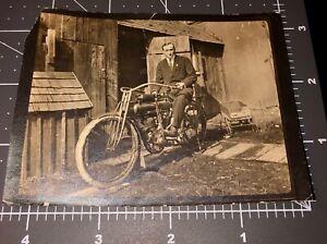 Rare 1910's The FLYING MERKEL Motorcycle Cycle Man Rider Vintage Snapshot PHOTO
