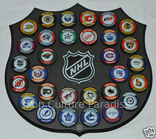 """HOCKEY PUCKS ALL 30 NHL TEAMS Complete Set """"Retro"""" WITH WALL MOUNT PLAQUE BOARD"""