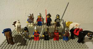 LEGO FIGUREN 8 RITTER MIT WAFFE UND KOPFBEDECKUNGEN i 2 2 PFERDE