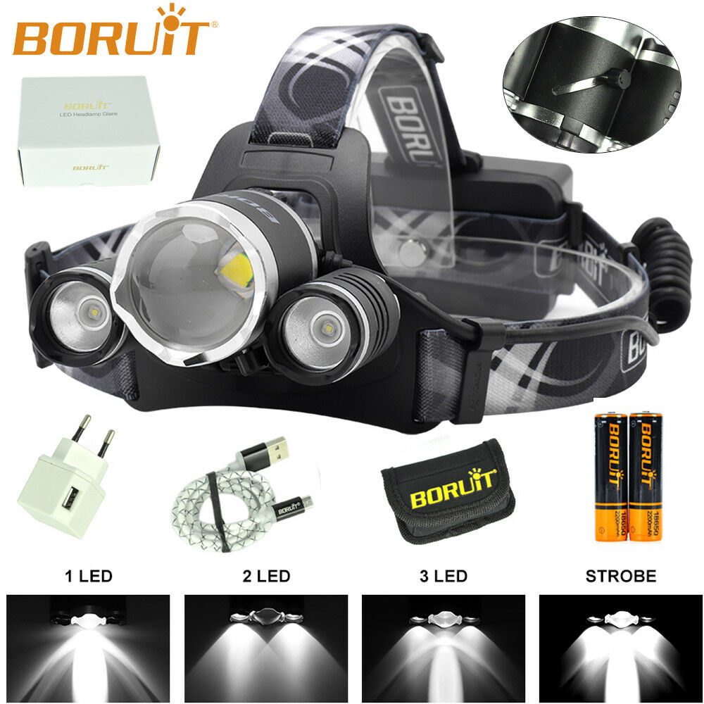 B22 BORUiT Zoomable Headlamp XM-L2+2XPE 3LED Micro USB Headlight Work Lamp Light