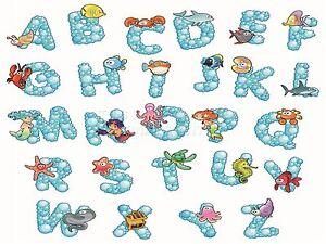 Alphabet Artistique impression artistique peinture dessin animé alphabet animaux marins