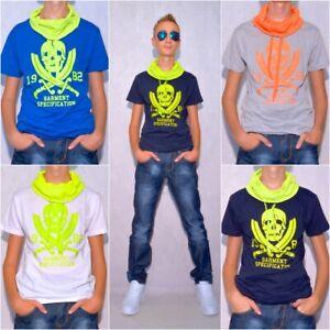 Kinder-Jungen-T-Shirt-Shirt-mit-coolem-Kragen-und-Totenkopf-Print