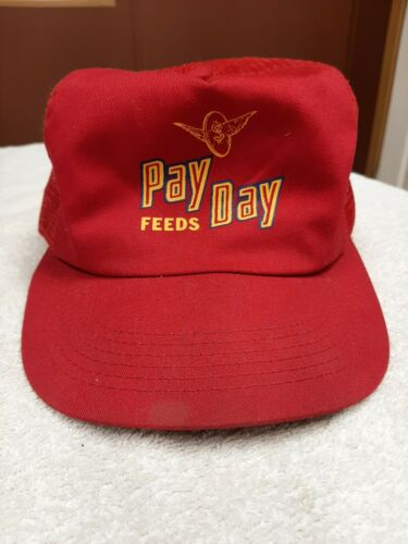 Vintage Pay Day Feeds Hat K Products Red USA