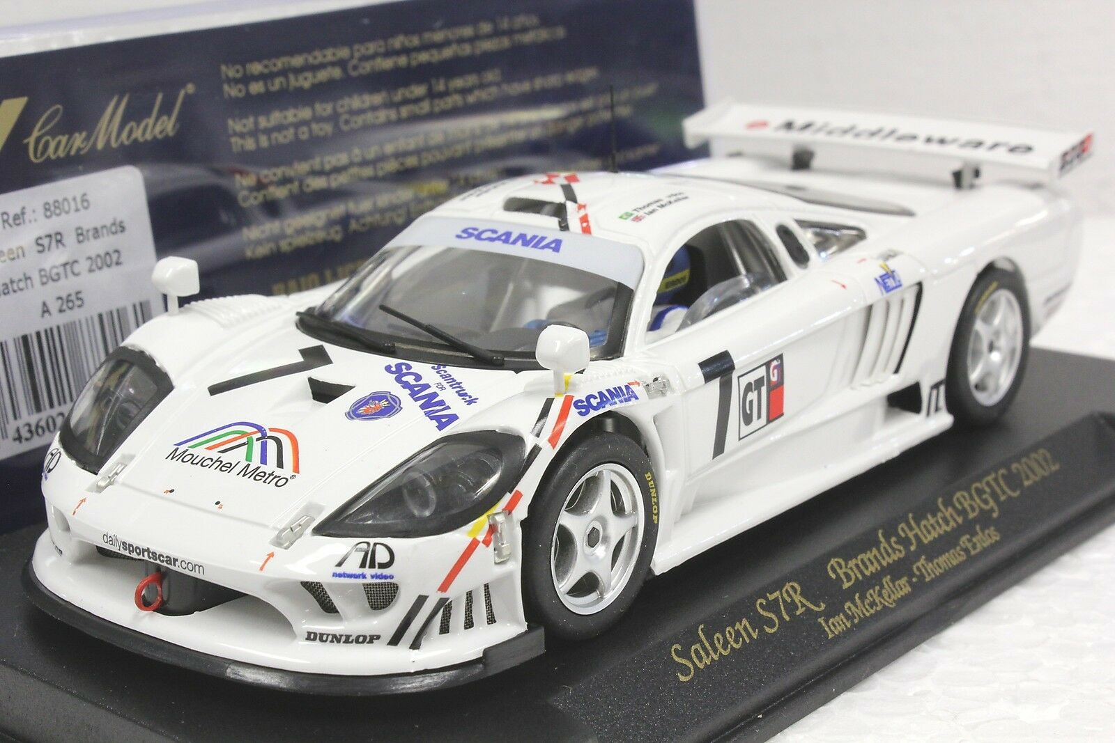 FLY A265 SALEEN S7R BRANDS HATCH BGTC 2002 NEW 1 32 SLOT CAR IN DISPLAY