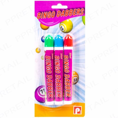 9Pc MULTI-COLOURED BINGO DABBERS Slim Classic Ticket Dotter//Blob Marker Pen Set