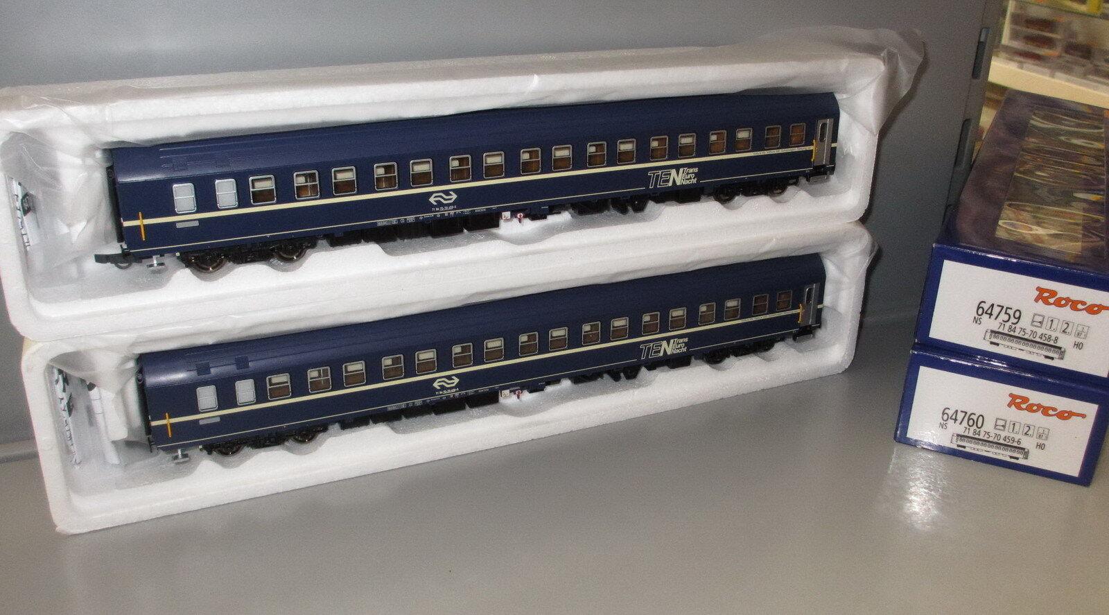 ROCO h0 64759 64760 _ 2x vetture passeggeri vagone letto t2s NS TEN ep. IV