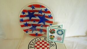 Peggy Karr Bowl Stars and Stripes Pattern 9 inches Signed Retired w Original Box