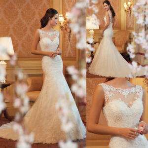 TOP-Brautkleid-Hochzeitskleid-Braut-Mermaid-Kleid-Schleppe-Spitze-S-2XL-BC560