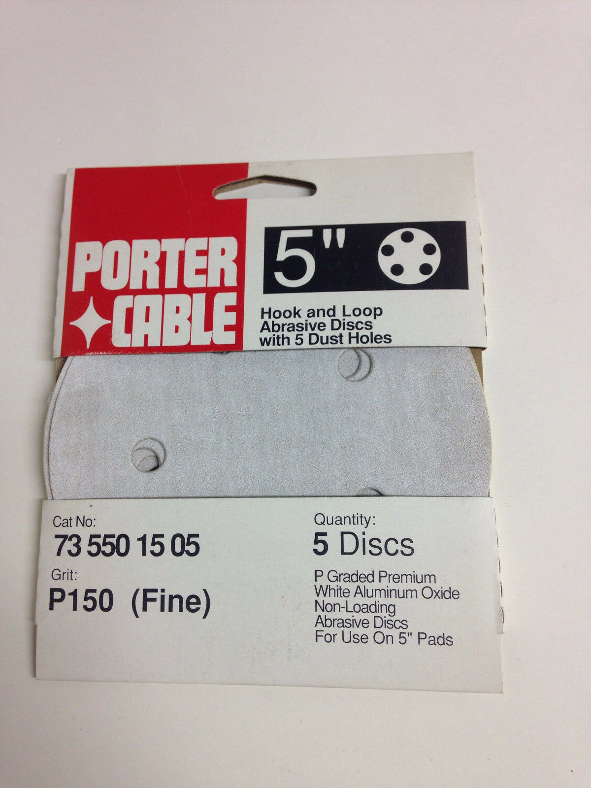 PORTER-CABLE 735801005 5-Inch 100-Grit 8-Hole Hook and Loop Sanding Discs 5-Pack