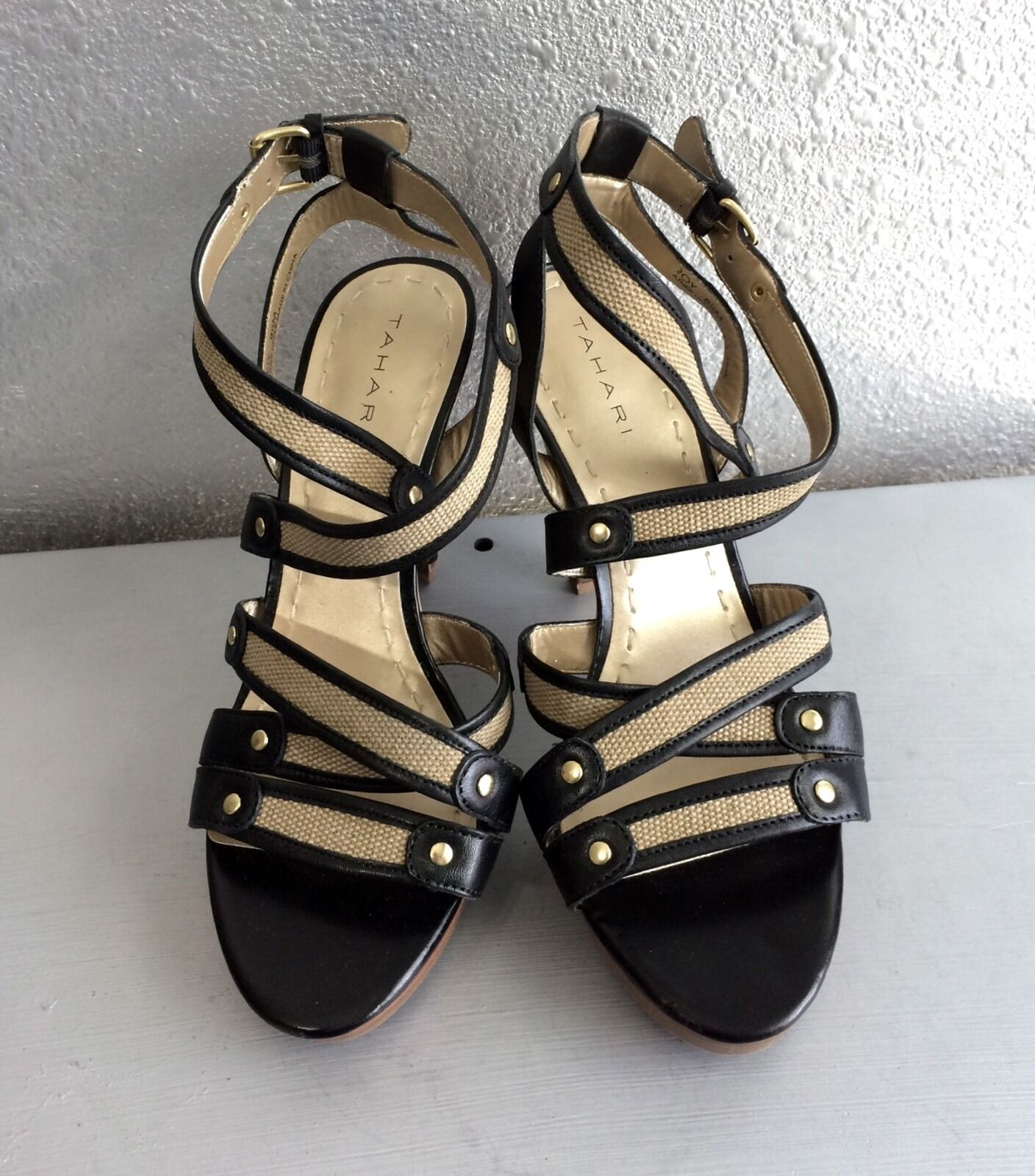 TAHARI Black Leather Strappy Khaki Canvas Platform Heels