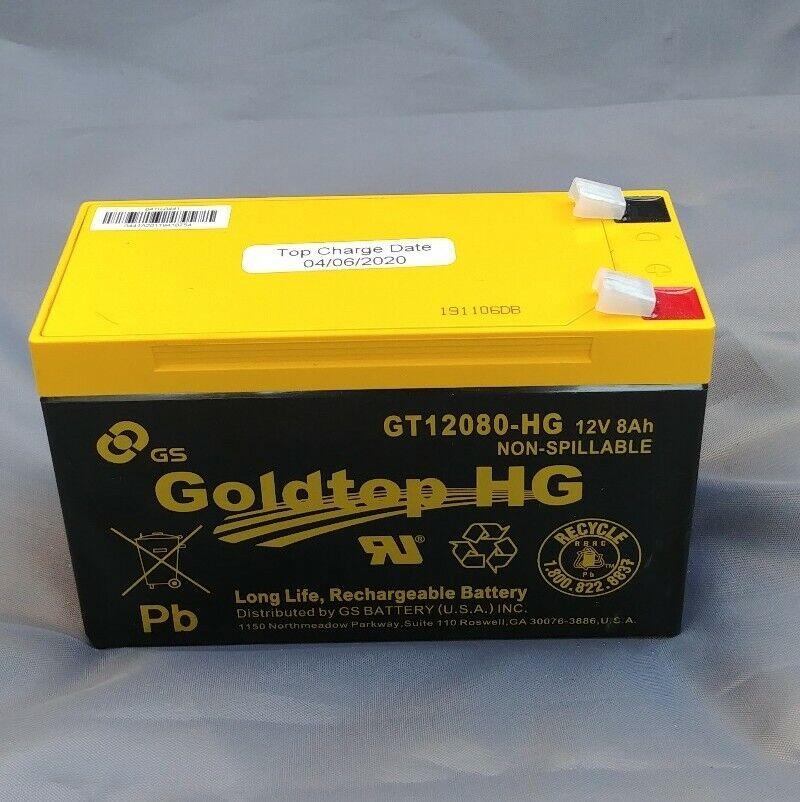 (04/06/20) Goldtop GT12080HG 12V8AH Long Life Rechargeable - NEW