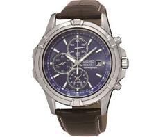 Seiko SSC141P2 Gents Leather Strap Solar Chronograph Alarm Date Watch RRP £229