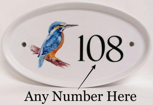 Kingfisher Oiseau Ovale Maison Porte Numéro Plaque oiseau bleu en céramique signe un nombre quelconque