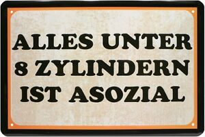 Spruch Alles Unter 8 Zylindern Asozial 20 X 30 Blech Schild Retro