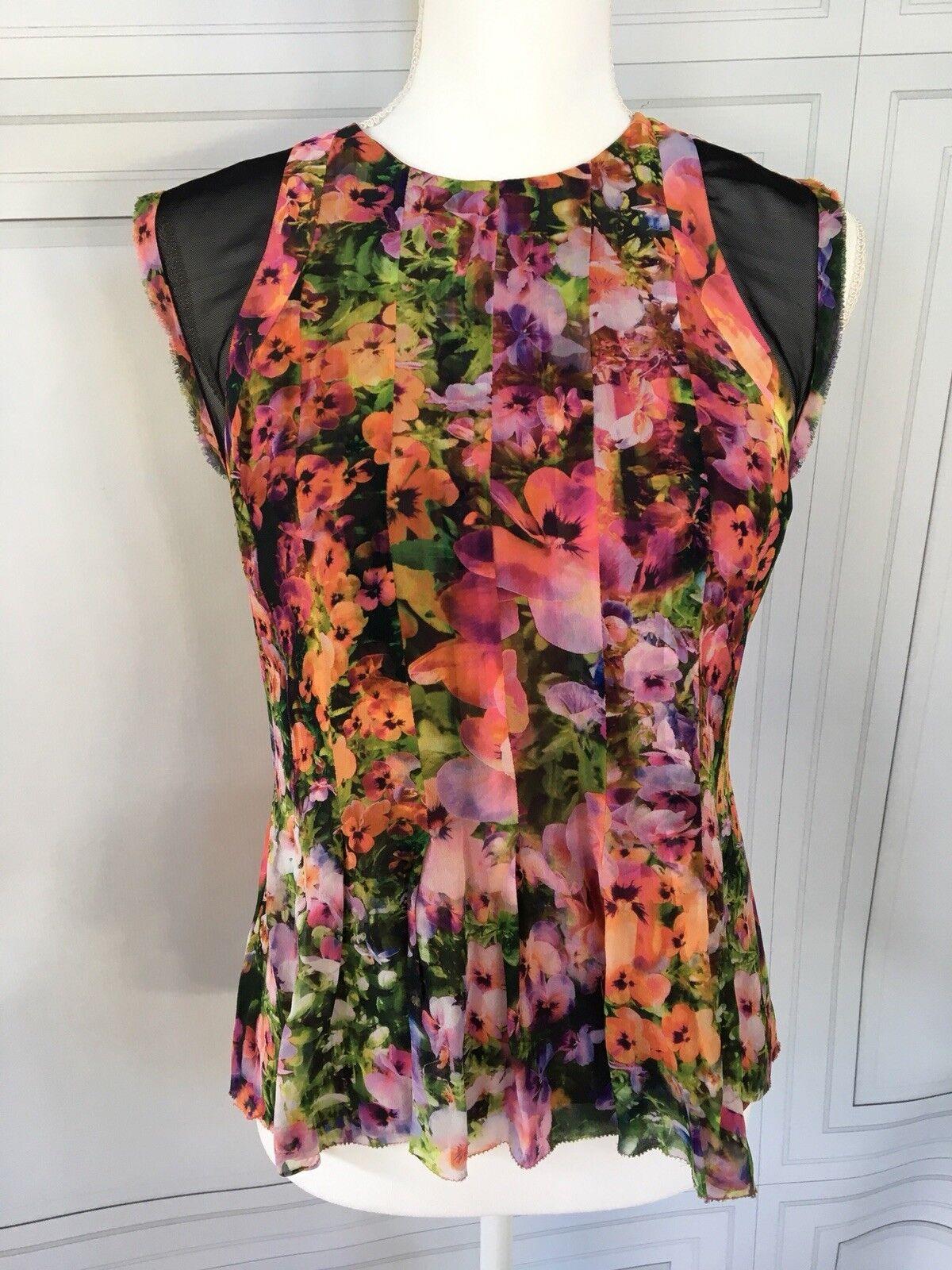 Nicole Miller Artelier Floral Cap Sleeve Blouse Sz S
