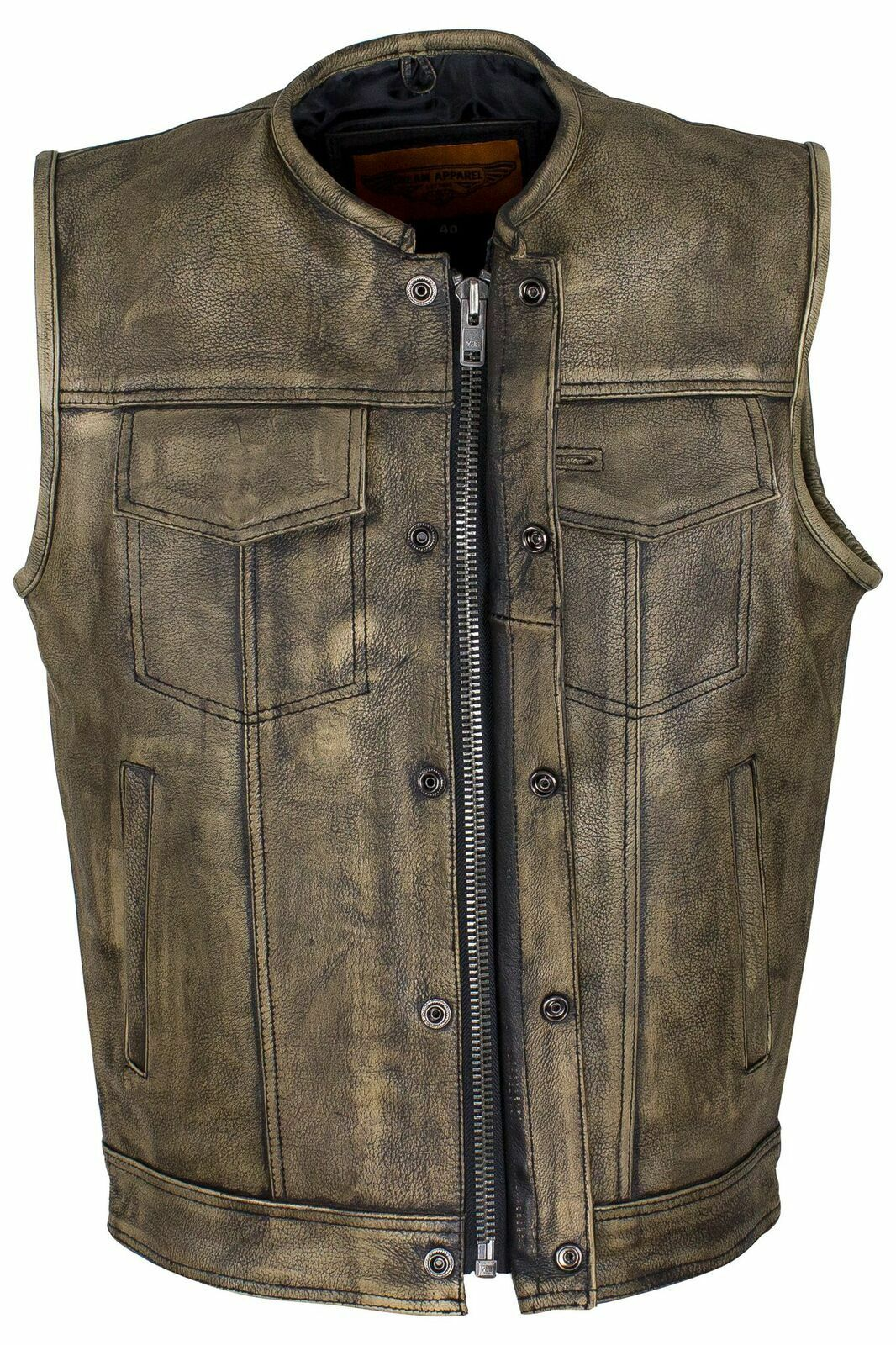Herren MOTORCYCLE SON OF ANARCY DISTRESSED COLLARLESS EURO COLLAR LEATHER VEST