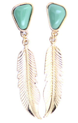 Vintage style gold and green leaf earrings