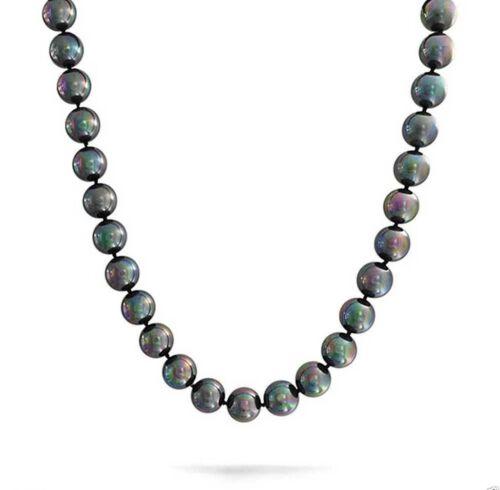 """Fashion 8 mm fait main rainbow noir SOUTH SEA SHELL Collier De Perles 18/"""""""