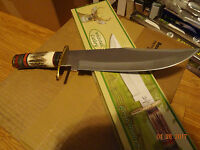 Whitetail Cutlery 15 1/4 Stag Handle Bowie Knife 440hc German Made Blade Leathe
