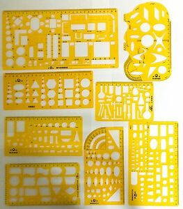 TECHNICAL DRAWING STENCILS TEMPLATES ARCHITECTURAL MECHANICAL ...