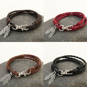 8d4bed7bb Vintage Men's Leather Wrap Braided Wristband Cuff Punk Women Bangle ...