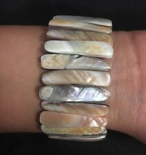 Natural Abalone Shell/Mother of Pearl Bars Stretch Bracelet New