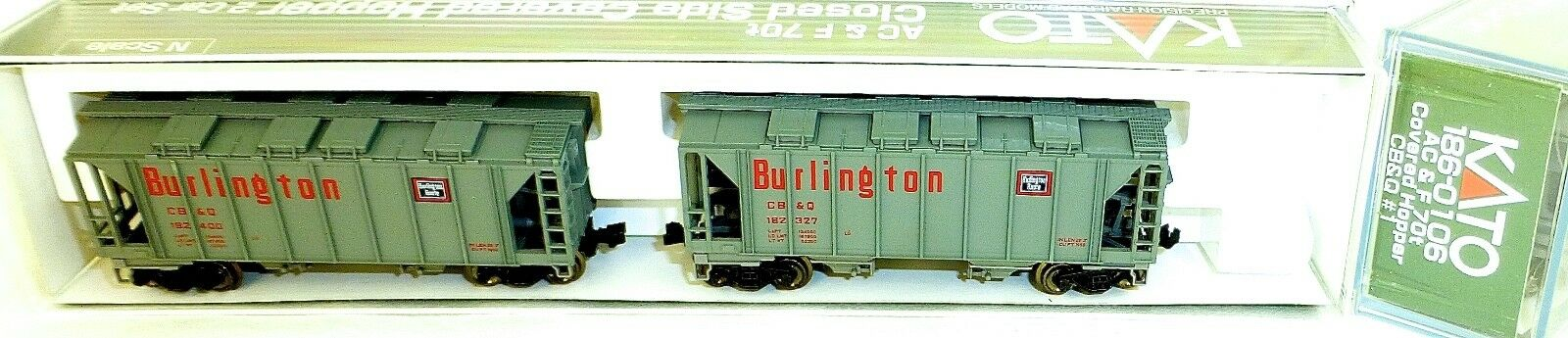 KATO 186-0106 AC&F 70t 2 Car CB&Q Closed Side Covered Hopper OVP N 1 160 HS5 å