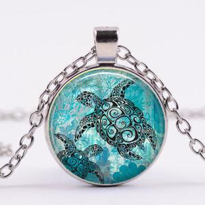 aquamarine-blue-sea-turtle-Glass-dome-Necklace-chain-Pendant-Wholesale-Silver