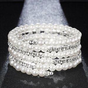 Women-Pearl-Crystal-Rhinestone-Stretch-Bracelet-Bangle-Wristband-Wedding-Bridal