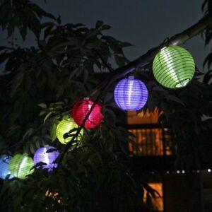 Solar String 10 Mini Colorful Fabric Lanterns,Fairy Outdoor Garden Decor Lights eBay