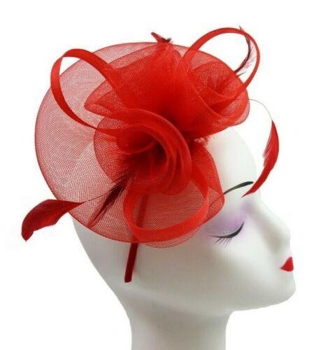 Headband Aliceband Hat Red Fascinator Weddings Hat Ladies Day Race Royal Ascot