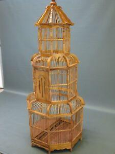 Bois Bambou Asiatique Cage À Oiseaux Volière Artisanat Maison D'oiseau 110cm