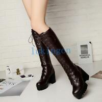 Punk Womens Lace Up Knee High Boots Block Heel Platform Riding Bootie Shoes GOTH