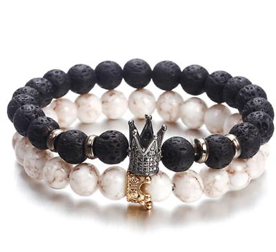 Fashion Mens Black Bracelet Crown Onyx 8mm Stone Beads Charm Beaded Accesso O5S3
