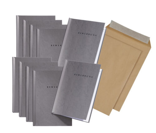 10 graue Bewerbungsmappen von Pagna Typ START 2-teilig inkl Briefumschlägen