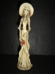 SKELETON-CATRINA-day-on-the-death-RESINA-resin-skull-figure-statue-hat