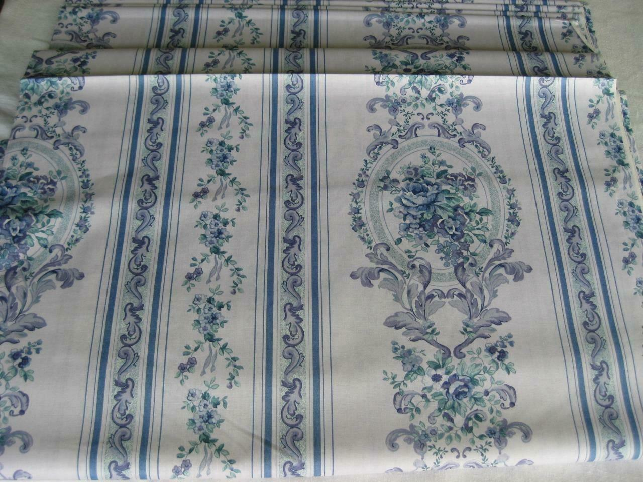Image 01 - Springs French Country Cotton Fabric Periwinkle Blue Teal Floral Trellis Vine 3Y