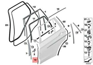 BMW Genuine Trim And Seals For Door Rear Bottom Right B-Column Sealing X5 35dX X5 35i X5 35iX X5 40eX X5 50iX X5 M