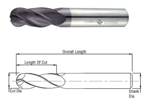 Cobra Carbide 25410 1.5 MM Carbide End Mill Ball Nose 4 FL Uncoated OAL 38 MM