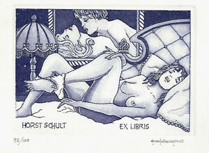 Paolo-Rovegno-Erotisches-Exlibris-Schult-Erotic-Nude-Bed-Time-Etching-c3-sign