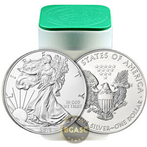 2018 1 oz American Silver Eagles Unopened 20-Coin Roll .999 BU