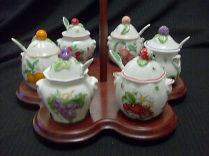 LENOX PORCELAIN ORCHARD 1991 JAM/JELLY JARS WITH LIDS & SPOONS WOODEN CADDY
